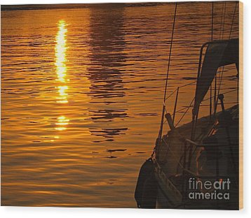 Harbour Sunset Wood Print by Clare Bevan
