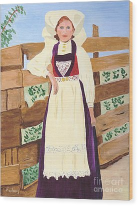 Wood Print featuring the painting Hardanger Girl by Rodney Campbell