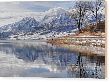 Hardy Fishermen Deer Creek Reservoir And Timpanogos In Winter Wood Print by Gary Whitton