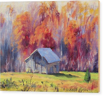 Hardy Road Barn- In Autumn Wood Print