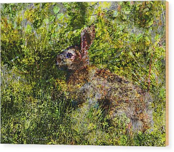 Wood Print featuring the digital art Hare In Hiding by J Larry Walker