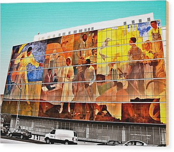 Harlem Hospital Mural Wood Print by Terry Wallace
