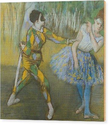Harlequin And Columbine Wood Print by Edgar Degas