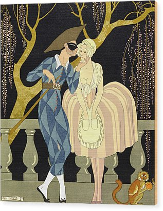 Harlequin's Kiss Wood Print by Georges Barbier