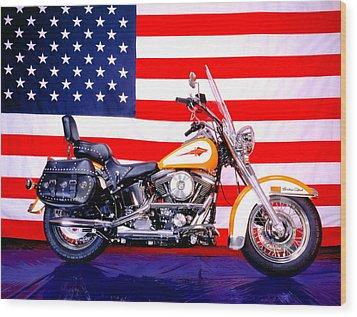 Harley And Us Flag Wood Print