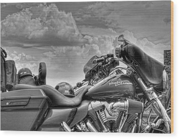 Harley Black And White Wood Print by Ron White
