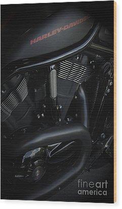 Harley Davidson Black Wood Print by Vineesh Edakkara