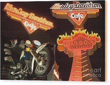 Harley Davidson Cafe Wood Print by Bob Christopher