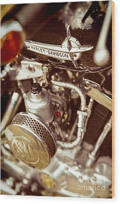 Wood Print featuring the photograph Harley Davidson Closeup by Carsten Reisinger