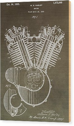 Harley Davidson Engine Wood Print by Dan Sproul