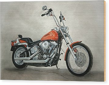 Harley Davidson Wood Print by Heather Gessell