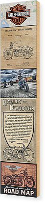 Harley-davidson Montage Wood Print by Photographic Art by Russel Ray Photos