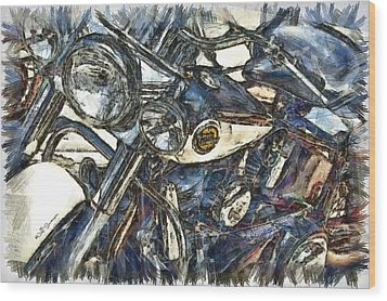 Harley Davidson Painted Wood Print