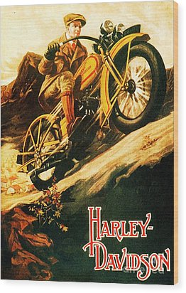 Harley Davidson Wood Print by Pg Reproductions