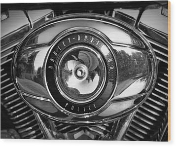 Harley-davidson Police B And W Wood Print by Cricket Hackmann
