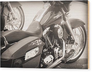 Harley Davidson With Flaming Skulls Wood Print by Kelly Hazel