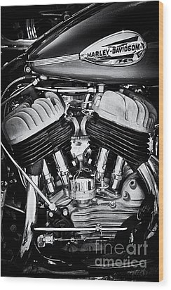 Harley Davidson Wla Monochrome Wood Print