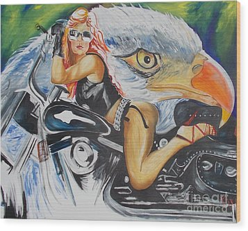 Harley Girl Wood Print by PainterArtist FIN