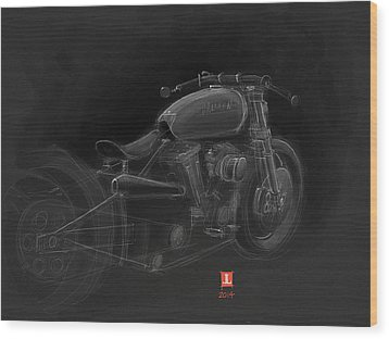 Wood Print featuring the drawing Harley by Jeremy Lacy