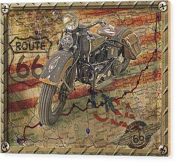 Harley On 66 Wood Print
