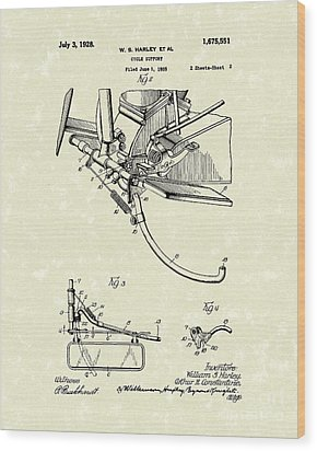 Harley Support 1928 Patent Art Wood Print by Prior Art Design