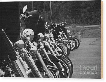 Wood Print featuring the photograph Harleys All In A Row by Jim Lepard
