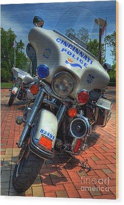Harleys In Cincinnati 1 Wood Print by Mel Steinhauer
