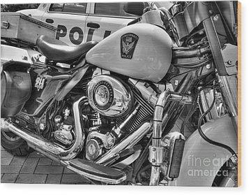 Harleys In Cincinnati 2 Bw Wood Print by Mel Steinhauer