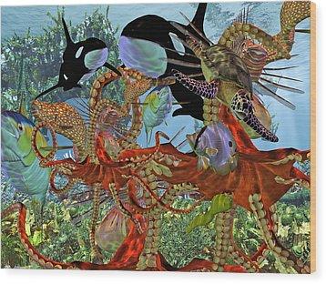 Harmony Under The Sea Wood Print by Betsy Knapp