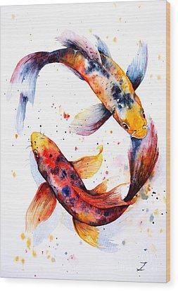 Harmony Wood Print by Zaira Dzhaubaeva
