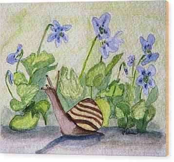 Wood Print featuring the painting Harold In The Violets by Angela Davies