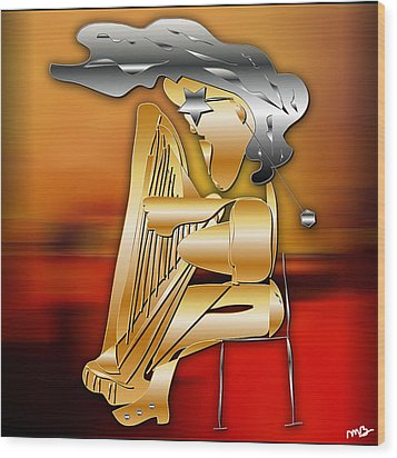 Harp Player Wood Print by Marvin Blaine