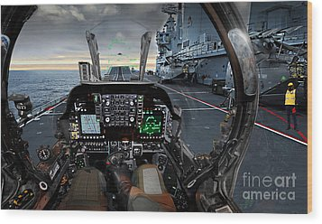 Harrier Cockpit Wood Print by Paul Fearn