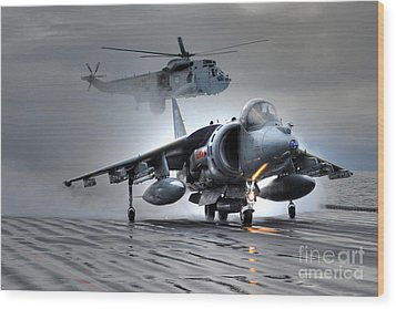 Harrier Gr9 Takes Off From Hms Ark Royal For The Very Last Time Wood Print by Paul Fearn