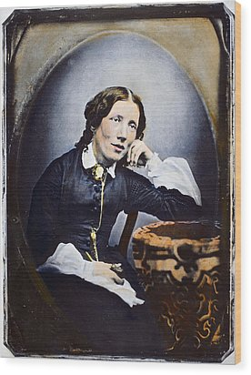 Harriet Beecher Stowe (1811-1896). American Abolitionist And Writer. Oil Over A Daguerrotype, C1852 Wood Print by Granger