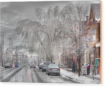 Harrisburg On Ice Wood Print by Lori Deiter