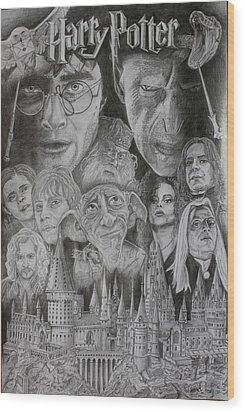 Harry Potter Montage Wood Print by Mark Harris