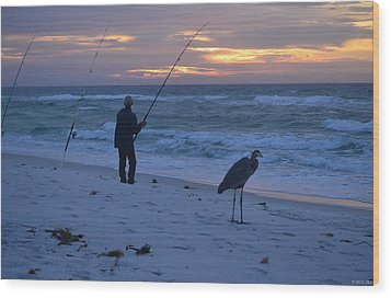 Wood Print featuring the photograph Harry The Heron Fishing With Fisherman On Navarre Beach At Sunrise by Jeff at JSJ Photography