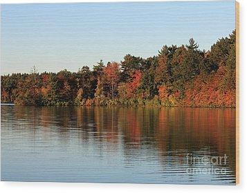 Hart Pond Golden Hour Wood Print