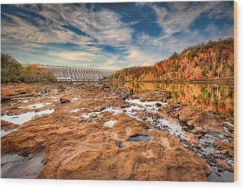 Hartwell Dam Wood Print by Brent Craft