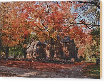 Wood Print featuring the photograph Hartwell Tavern Under Canopy Of Fall Foliage by Jeff Folger