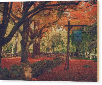 Wood Print featuring the photograph Hartwell Tavern Under Orange Fall Foliage by Jeff Folger