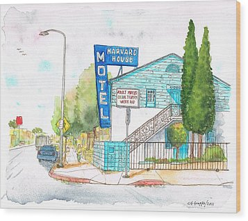 Harvard House Motel In Hollywood Blvd - Los Angeles - California Wood Print