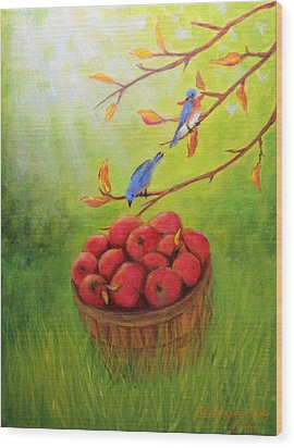 Harvest Apples And Bluebirds Wood Print