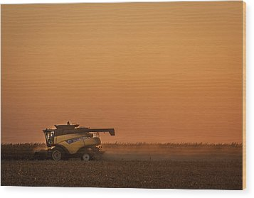 Wood Print featuring the photograph Harvest At Sunset by Dawn Romine