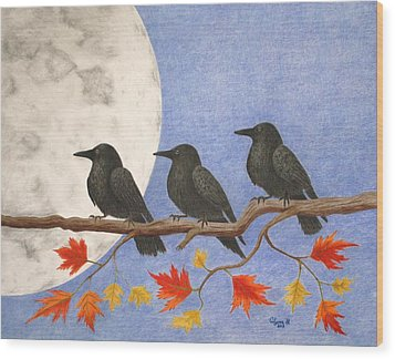 Harvest Crows Wood Print by Alyssa Glosson