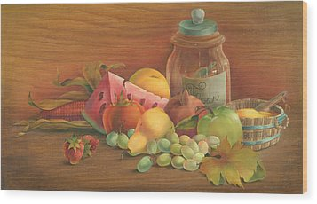 Wood Print featuring the painting Harvest Fruit by Doreta Y Boyd