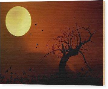 Harvest Moon Wood Print by Hazel Billingsley