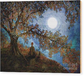 Harvest Moon Meditation Wood Print by Laura Iverson
