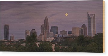 Wood Print featuring the photograph Harvest Moon Over Charlotte by Serge Skiba